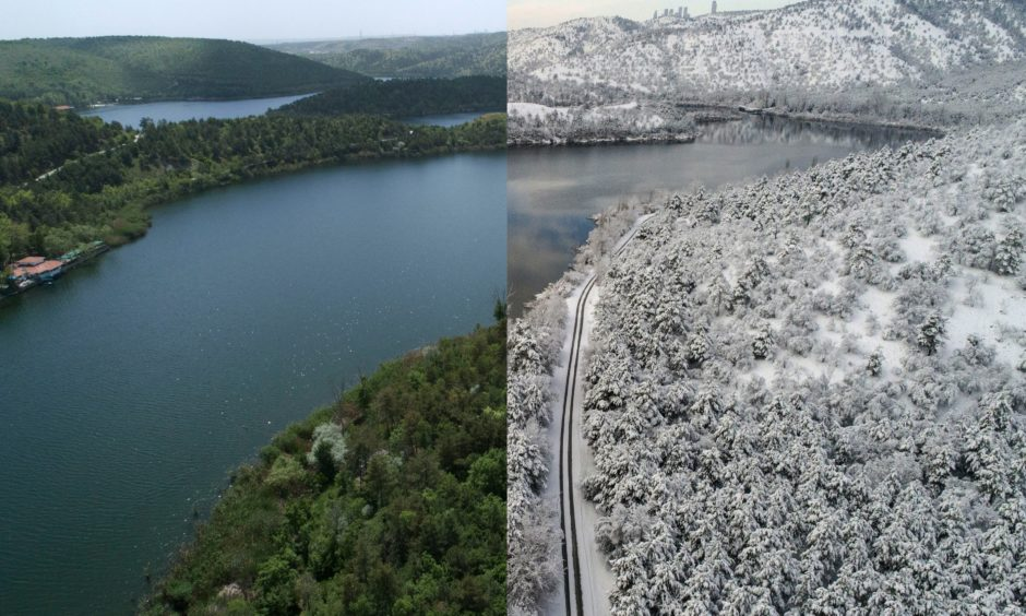 Snow covered forest and lakeside road and summer view with green trees near the Lake Eymir in Ankara, Turkey.