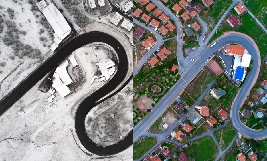 Drone photos show winding road in Hisarcik area and changing seasons in single photo with the combination of snowy winter view and summer view in Kayseri province of Turkey.