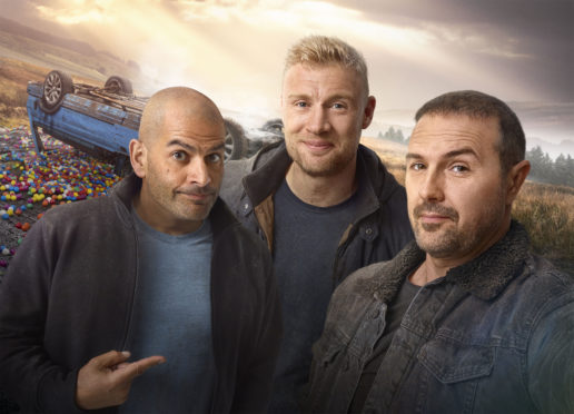 Picture Shows:  Chris Harris, Freddie Flintoff and Paddy McGuinness.