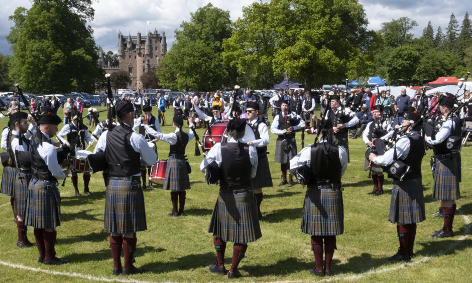 Stockbridge Pipe Band perform in the competition.