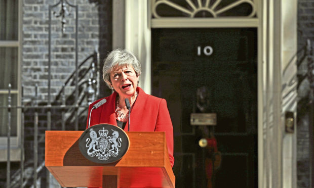 Prime Minister Theresa May making a statement outside 10 Downing Street in London.