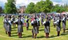 Stockbridge Pipe Band performing.