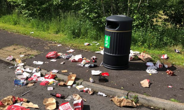 Litter outside council offices at Orchardbank
