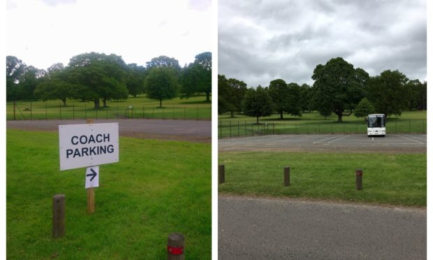 The tennis courts at Camperdown Park are being used as a parking facility