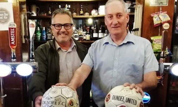 Coldside councillor George McIrvine (l) with Jim Kidd, owner of Frews Bar