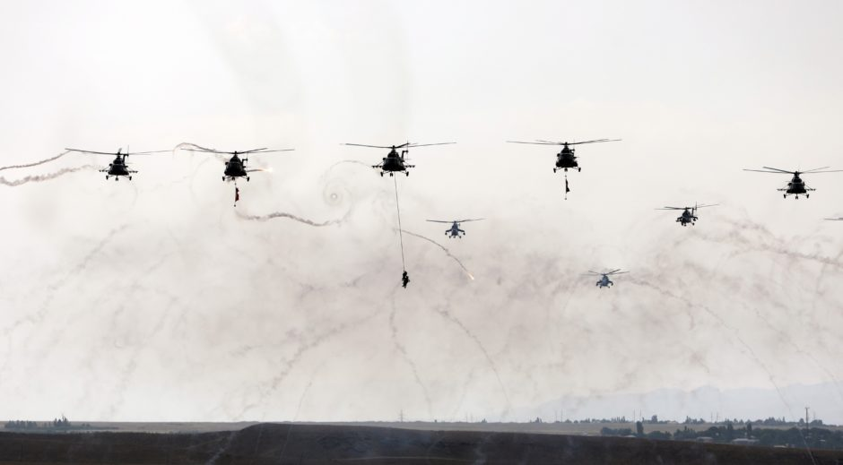 Military helicopters are seen during the joint military drill launched by Turkish and Azerbaijani army forces dubbed as 'Indestructible Brotherhood - 2019' in Nakhchivan, Azerbaijan on June 11, 2019.