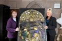 Lowson Memorial Church Forfar, minister Karen Fenwick with Maria Stewart and the window
