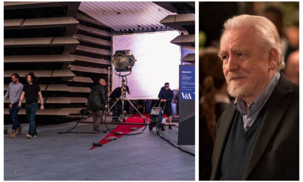 The HBO filming crew at the V&A Dundee (left) and Brian Cox in Succession season one (right).
