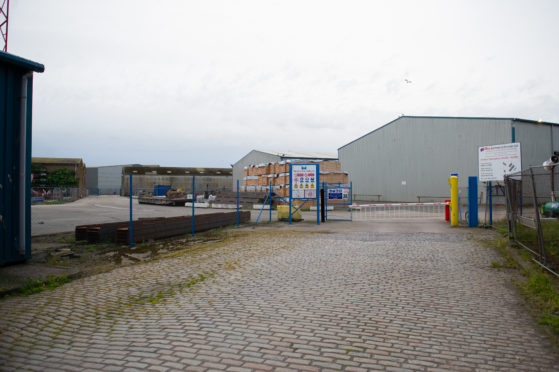 The entrance to the site operated by Rix Shipping (Scotland) Ltd.