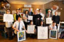 Gillian Ferriday, Perth Academy rector John Lothian, Michelle McManus and Provost Dennis Melloy, along with pupils, attended the VIP auction and exhibition launch.