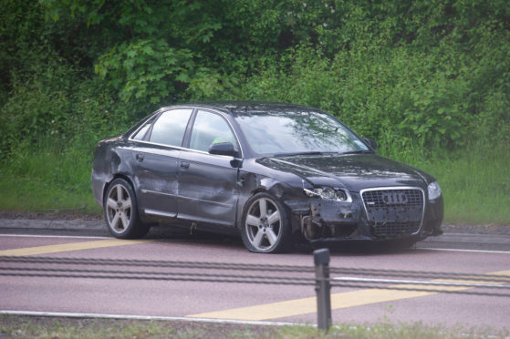 The Audi involved in the accident which caused long tailbacks