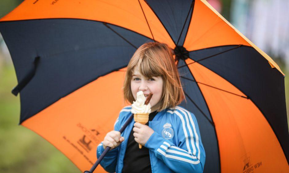 Patrick O'Shea enjoying an ice cream despite the weather.