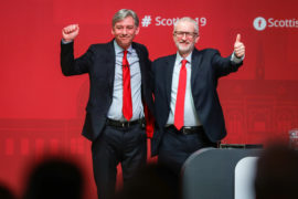 Labour leader Jeremy Corbyn (right) with Richard Leonard at the second day of the Scottish Labour conference in Dundee