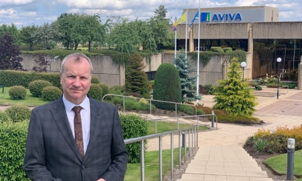 Pete Wishart at the Aviva building in Perth