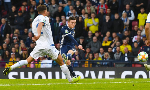 Scotland's Andy Robertson makes it 1-0 against Cyprus at Hampden on Saturday.