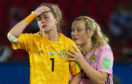 Erin Cuthbert, right, tries to comfort Scotland keeper Lee Alexander.