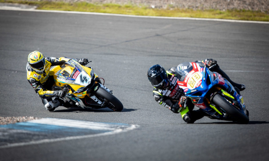 Superbikes take part in a pre-race weekend testing session.