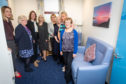 Jenny Gilruth MSP, Heather Bett, Dr Catherine Calderwood, Tricia Marwick, MP Annabelle Ewing, MSP Claire Baker, Councillor Rosemary Liewald and Councillor Judy Hamilton in the calming quiet area.