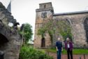 Rosemary Potter (Chairperson of the Trust) and George Proudfoot (Trustee) at Kirkcaldy Old Kirk where funding is needed to save the Old Kirk Tower.