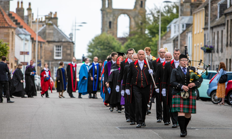 University procession heads towards St Salvators Quad after graduation ceremony. All pictures by Steve Brown / DCT Media