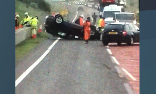 The vehicle following the crash on the A9.
