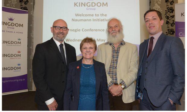 Bill Banks , Cllr Judy Hamilton, Laurie Naumann, and Fife Council housing access and homeless manager Gavin Smith.