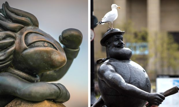 Dundee's Lemmings/Desperate Dan statues.