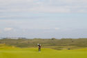 Tiger Woods in glorious isolation in practice at Royal Portrush.