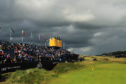 Glowering skies over the 18th at Royal Portrush on the first fay of The Open.