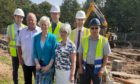 Representatives from Sinclair Watt Architects, Dryburgh Associates and David Adamson Quantity Surveyors along with Brian Cessford, site manager from DBM Building Contractors In the front are Gary Nurse, Christine Whitelaw and Margaret Rae from Wellesley Parish Church. Christine performed the  ground cutting