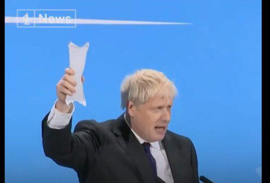 Boris waving the ice pack during last week's hustings.