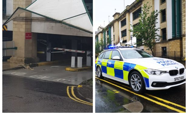 The fallen masonry, left, and police outside the car park
