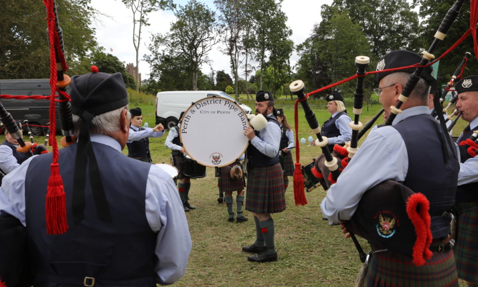 Perth, the Perth & District pipe  played to the crowds.
