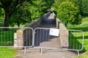 The bridge in Finlathen Park is closed off as one of the walls is bulging out.
