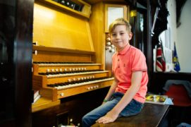 Harry Brown learns how to play the organ atSt Mary Magdalene's Episcopal Church, Dudhope Crescent Road, Dundee.