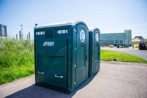 Two portable toilets have been set up for visitors to Montrose Splash visitors.