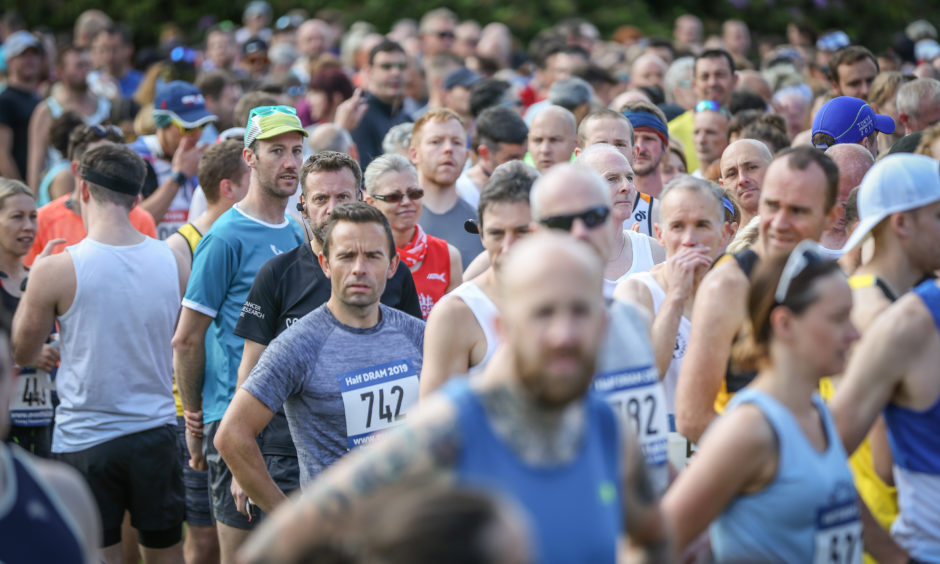 Runners at the start at Camperdown Park, Dundee.