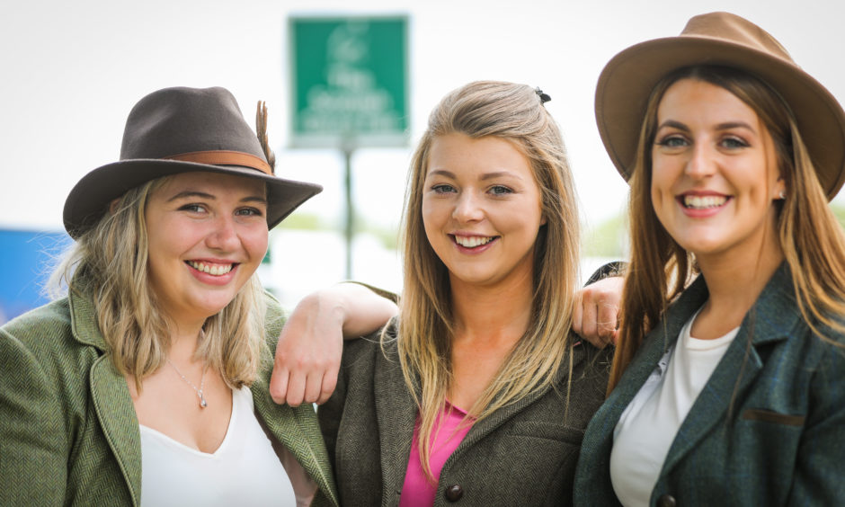 Lois Scott, Maddie Clarke and Louise Greenhill at the Scottish Game Fair at Scone Palace.