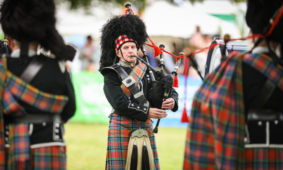 Blairgowrie and District Pipe Band at the Scottish Game Fair at Scone Palace.