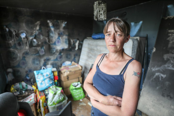 Caroline Slater at her fire-ravaged house in Carnoustie.