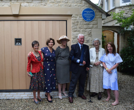 The Moir family at the unveiling of the plaque, from left, Sue, Michelle, Jane, and John Moir, Priscilla Moir-Sharp and Priscilla's daughter, Fi Glover.