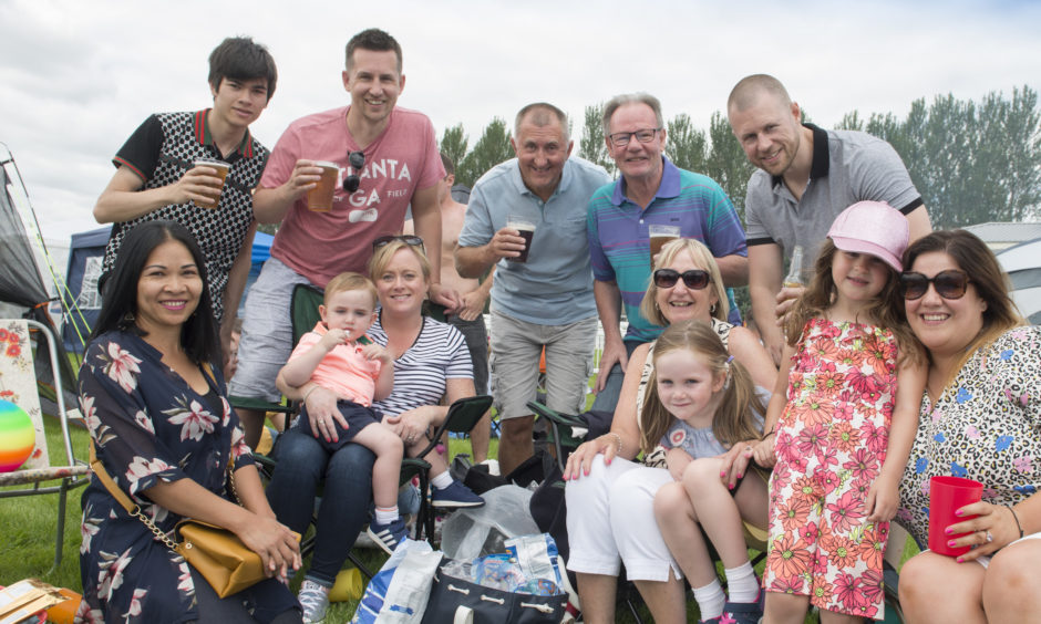 Brian Weston (back second from left) celebrated his 41st Birthday with friends at the family day.