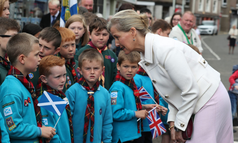The Countess of Forfar chats with locals on Castle Street in Forfar.