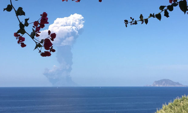 The eruption of the Stromboli volcano in on the island of the same name