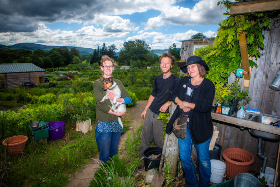 Picture shows, left to right, Judith McGowan, Sam Parry and Cristy Gilbert -  the three farmers that run the garden.