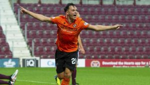 Lawrence Shankland after opening the scoring for United.