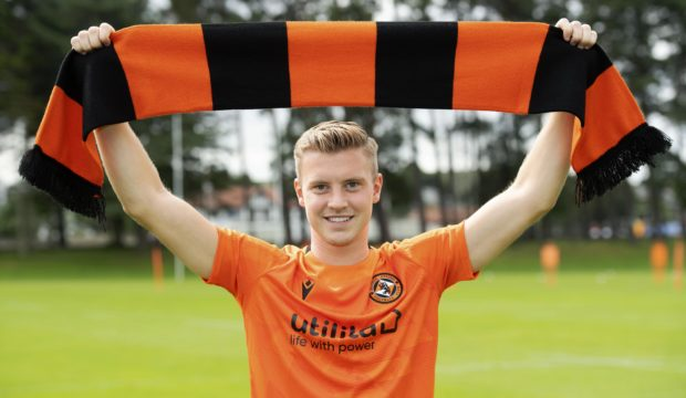 New Dundee United signing Adam King is presented to the media.