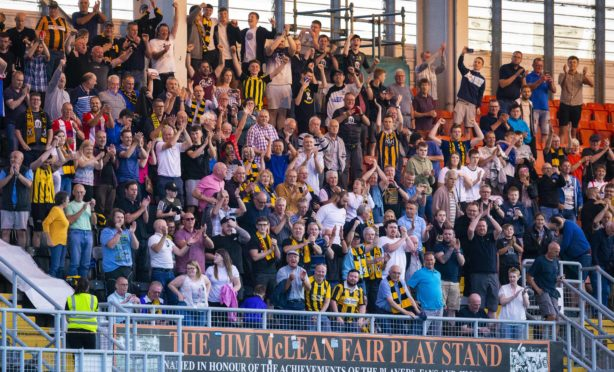 The East Fife fans hail Jordan Hart and his hard-working teammates.