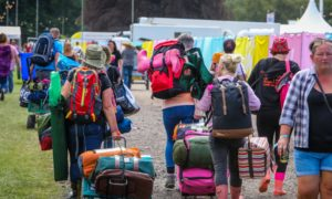 Revellers arrive at Scone Palace at the start of the Rewind weekend.