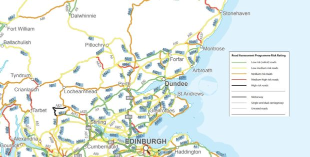 Map Of Uk Roads.Map Courier Country S Most Dangerous Roads Revealed With Fife